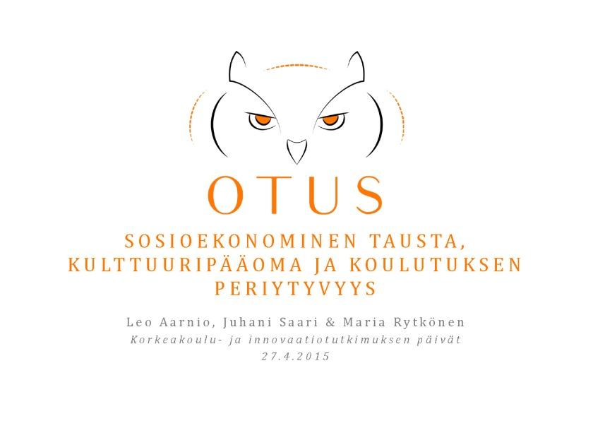 KIP2015 Sosioekonominen tausta, kulttuuripääoma ja koulutuksen periytyvyys - KIP2015_Sivu_01